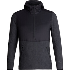 Icebreaker Descender Hybrid LS Half Zip Hood Herre black/jet heather